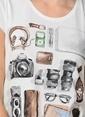 Kaft Bisiklet Yaka Baskılı Tişört Krem